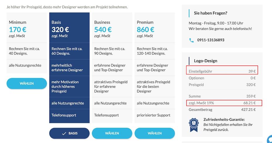 Designwettbewerb für Logo-Design designenlassen.de vs. 99designs