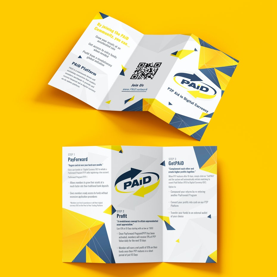 geometric and modern brochure design in bright yellow