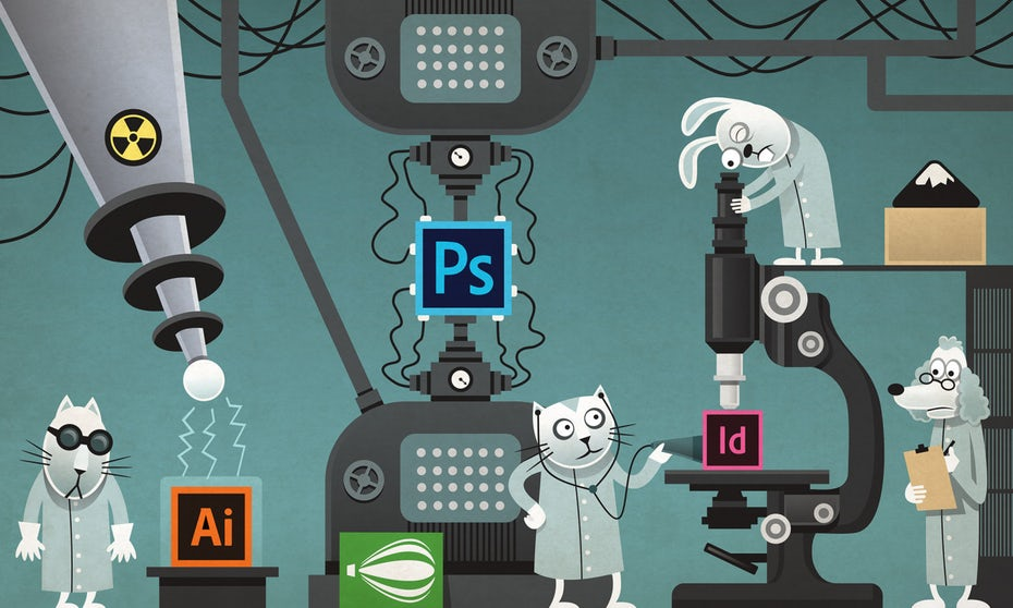 illustration of cats examining design program logos using different machines