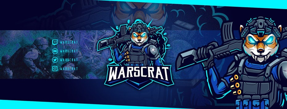 Twitch banner design that using a fox soldier character