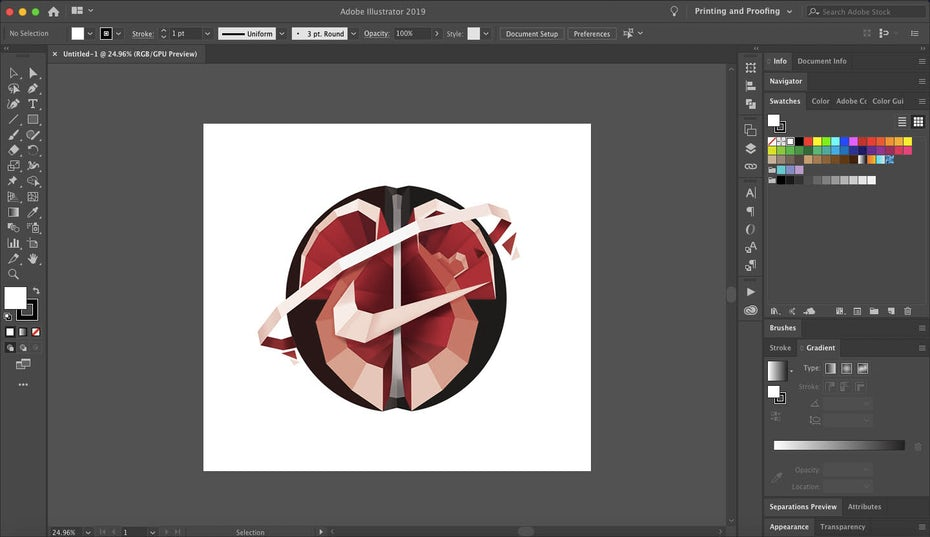 Vector design in Adobe Illustrator's interface