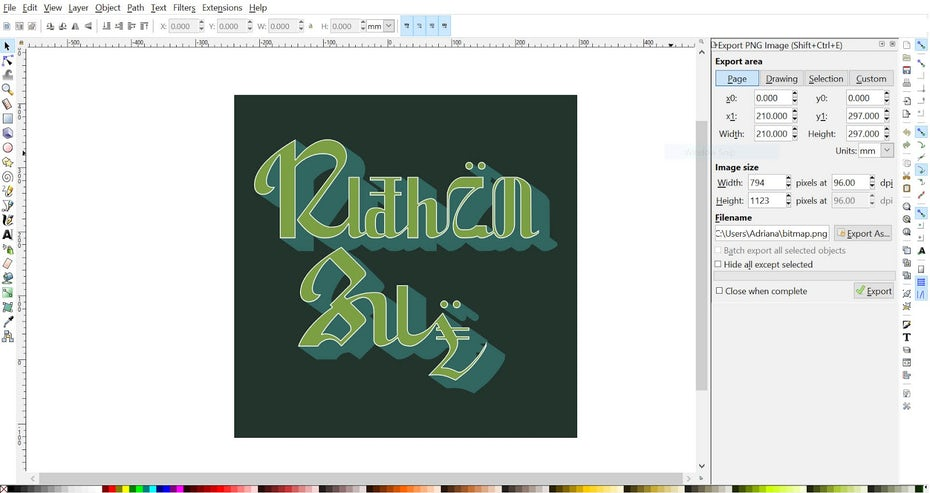 Typography design inside of Inkscape's interface