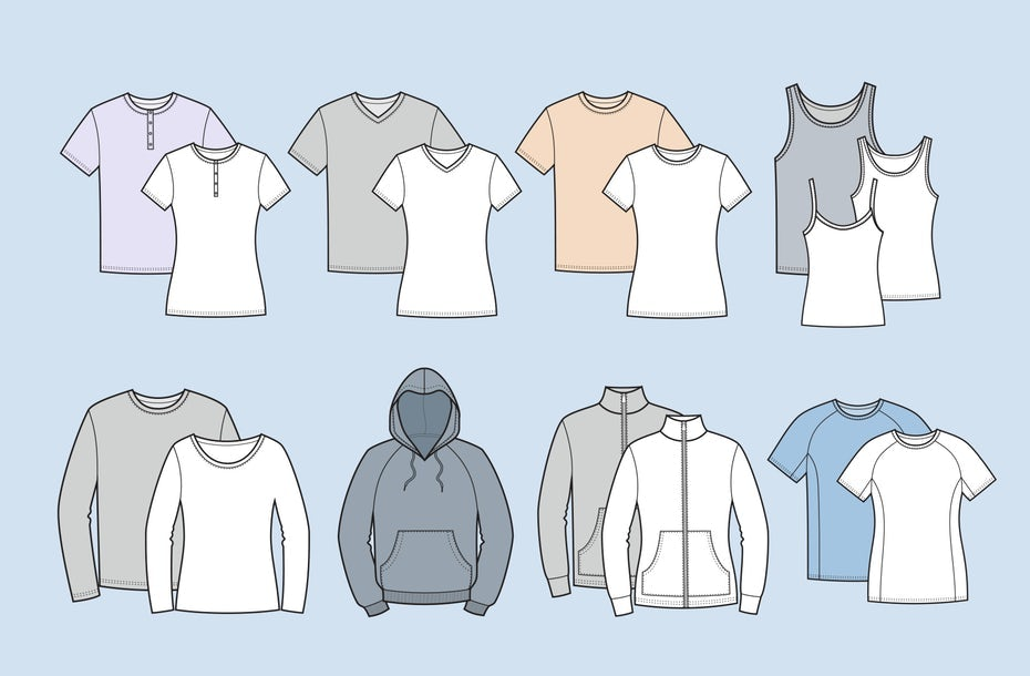 illustration of different types and cuts of t-shirts