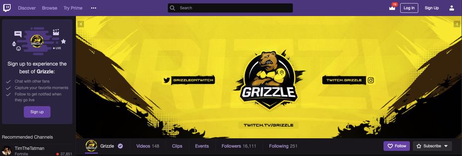 Yellow twitch banner as displayed on the profile