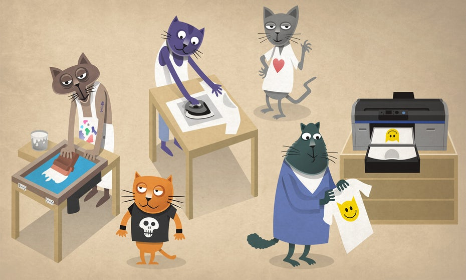 illustration of cats wearing tshirts and using different tshirt printing methods