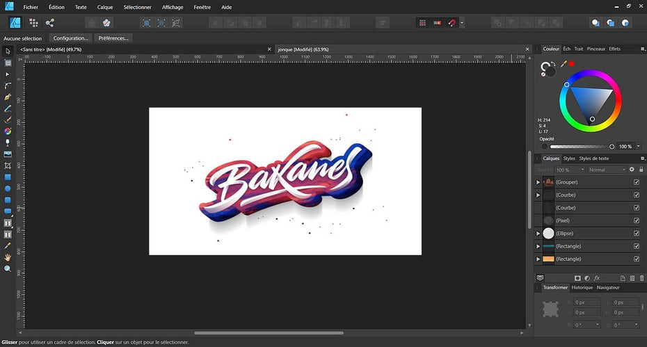 Lettering inside of Affinity Designer's interface