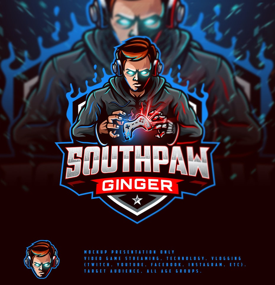 Twitch streamer logo design featuring an illustrated character