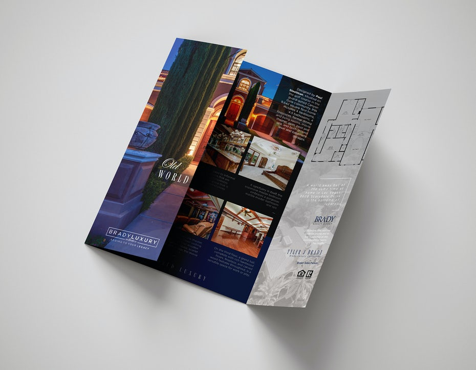 Gate-fold brochure for a real estate brand