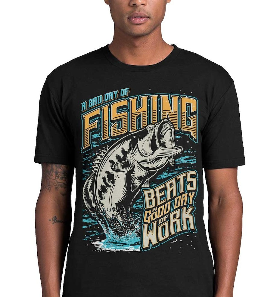 fishing t-shirt design with jumping fish