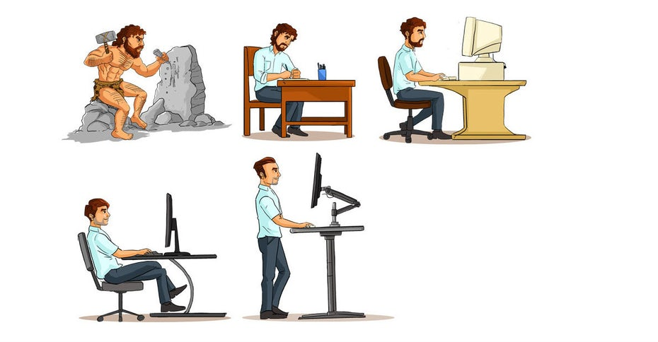 An illustration showing evolution within an office, from caveman to modern day