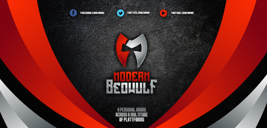 Red metallic twitch banner design with a centered alignment