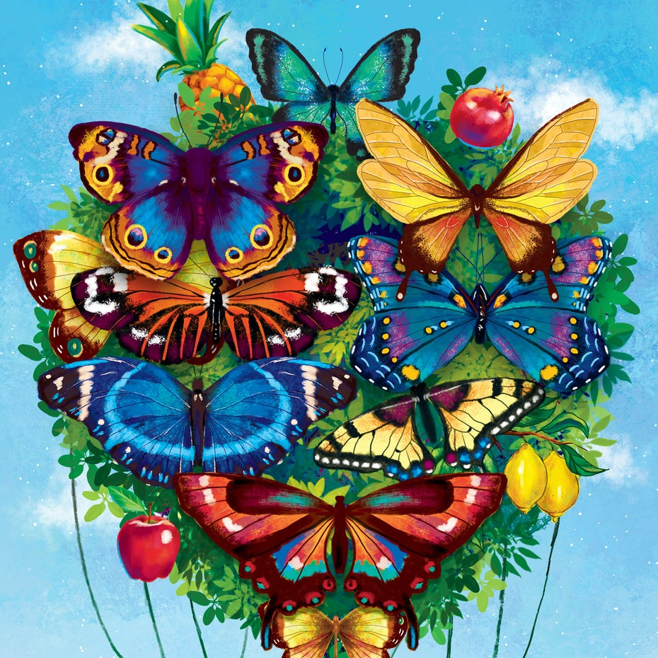 Happy butterfly illustration