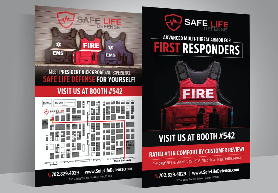 Red, black and white double-sided flyer for a safety vest company