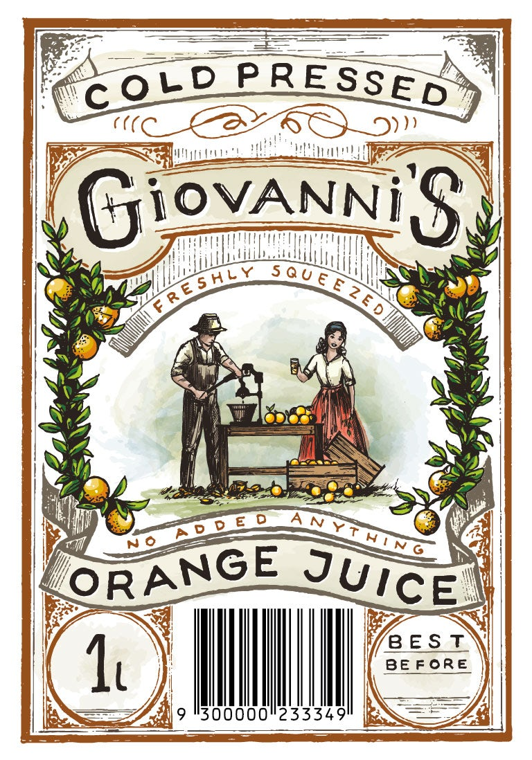 Giovanni's Cold-Pressed Orange Juice label design