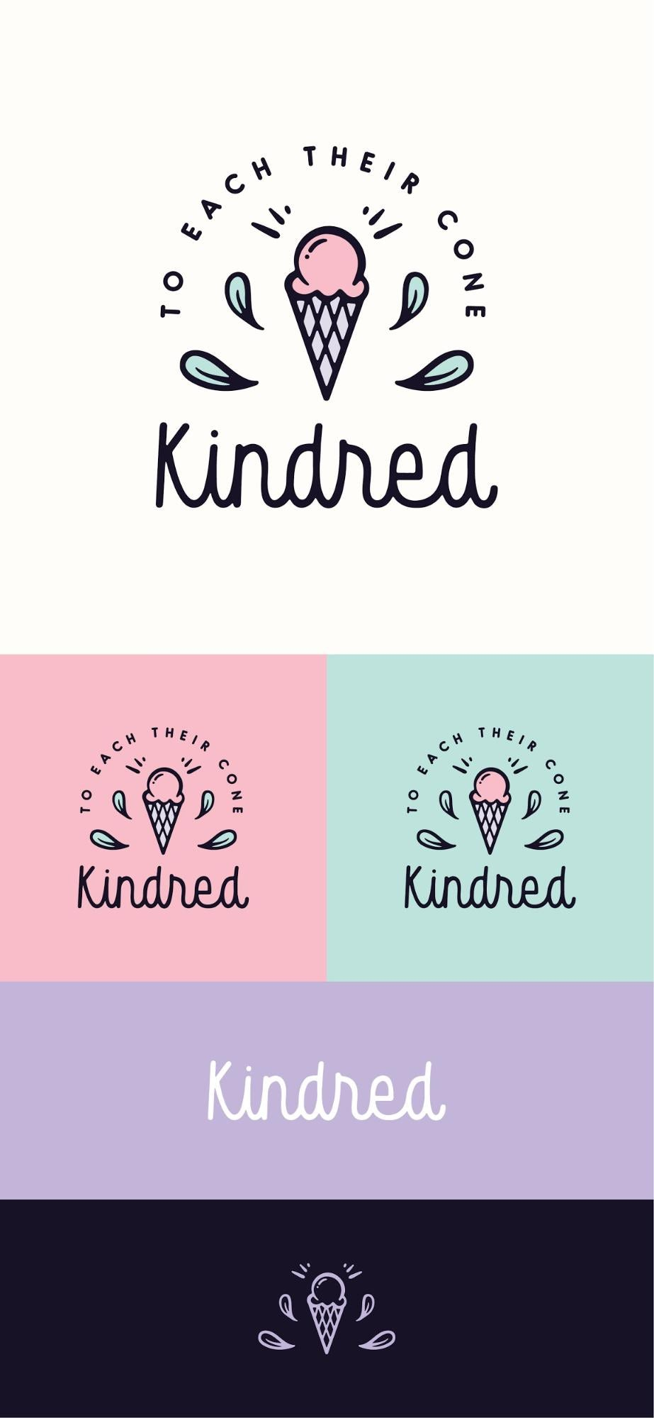 kindred logo presentation with different colors and versions