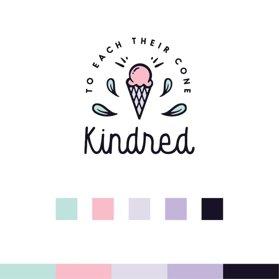 Kindred logo with final color palette