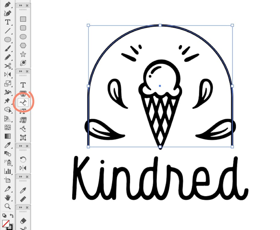 illustrator screenshot creating tagline for logo