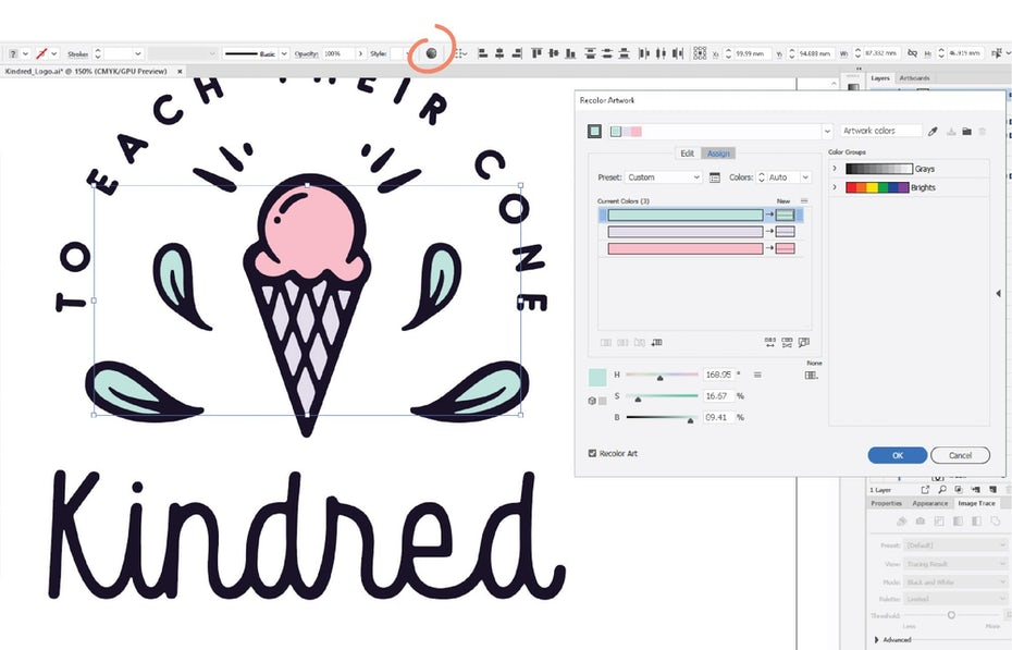 illustrator screenshot adding color to logo