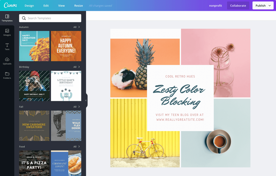 Canva interface