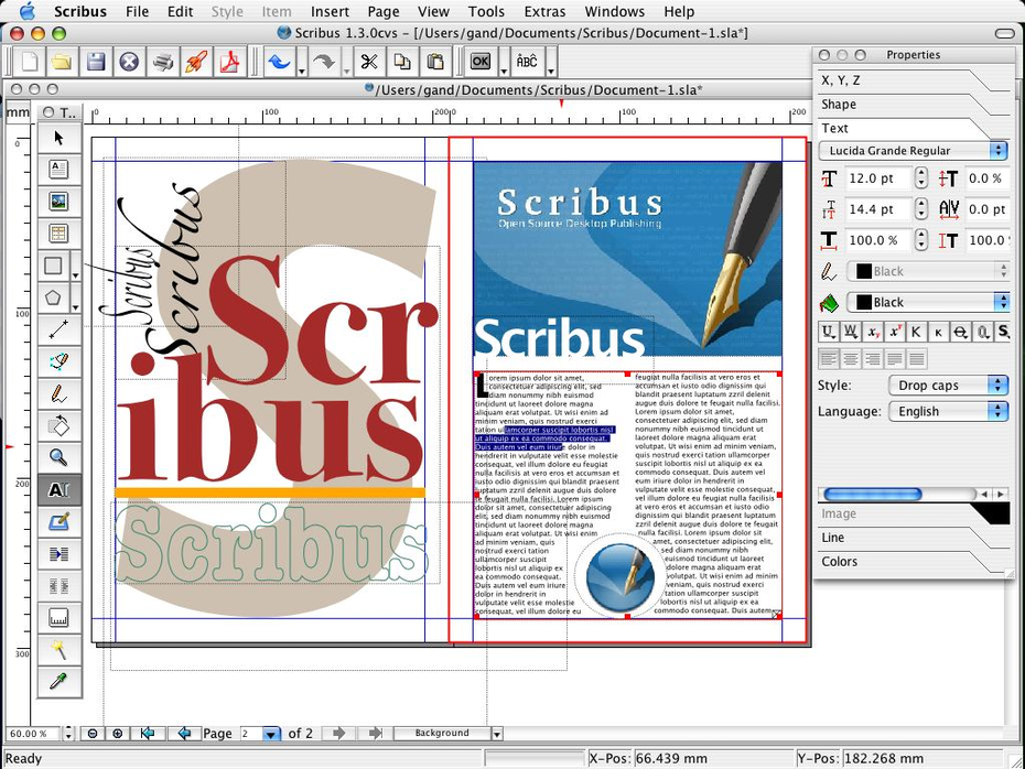 Scribus interface