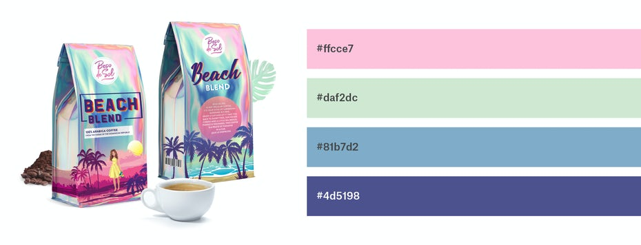 Coffee packaging with light pink, sage, sky blue and grape color scheme