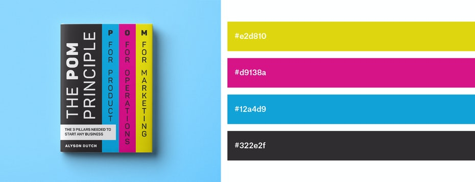 book cover design with yellow, magenta, cyan and black color combination