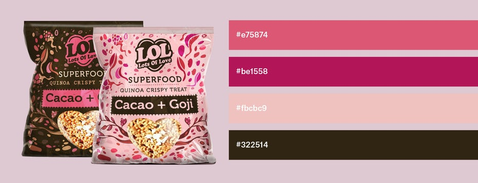 Shades of pink and brown combined in packaging design