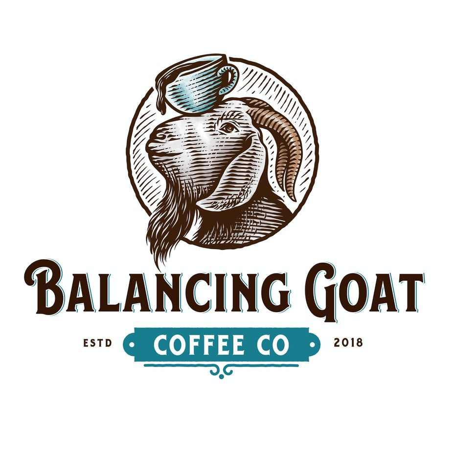 Illustrated logo design for a coffee shop