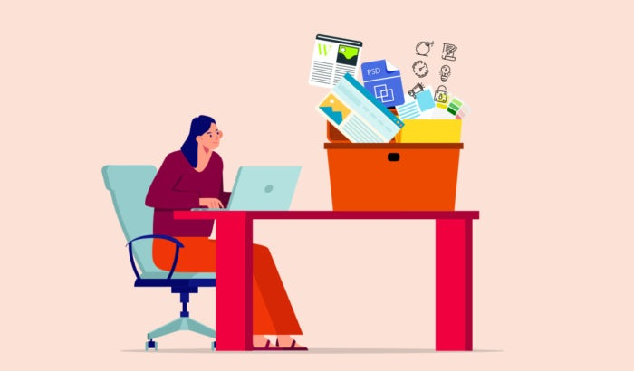 illustration of woman working on laptop with box of tools on table