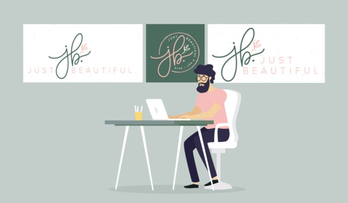 illustration of designer creating a logo with a tagline
