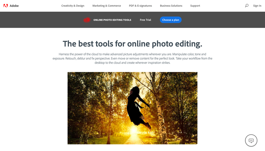Adobe Online Photo editing tools homepage