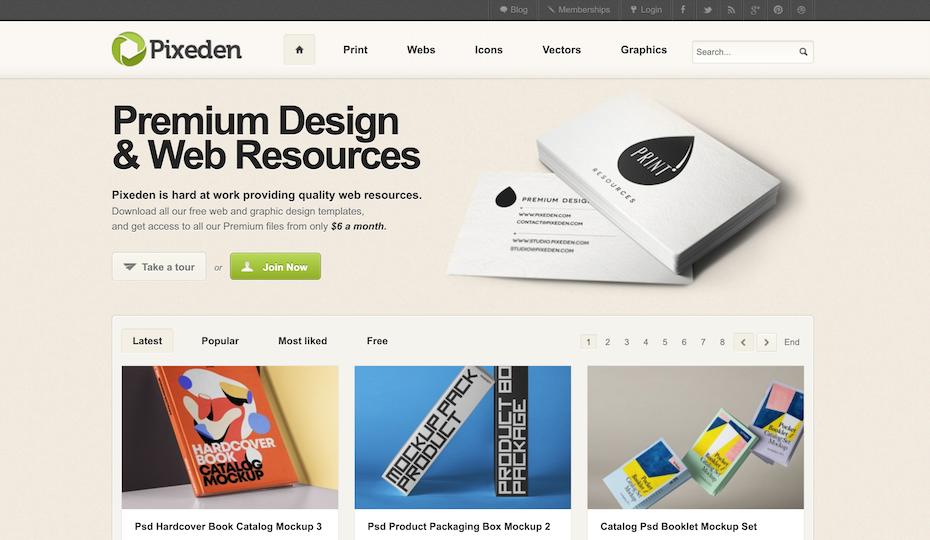 Pixeden homepage