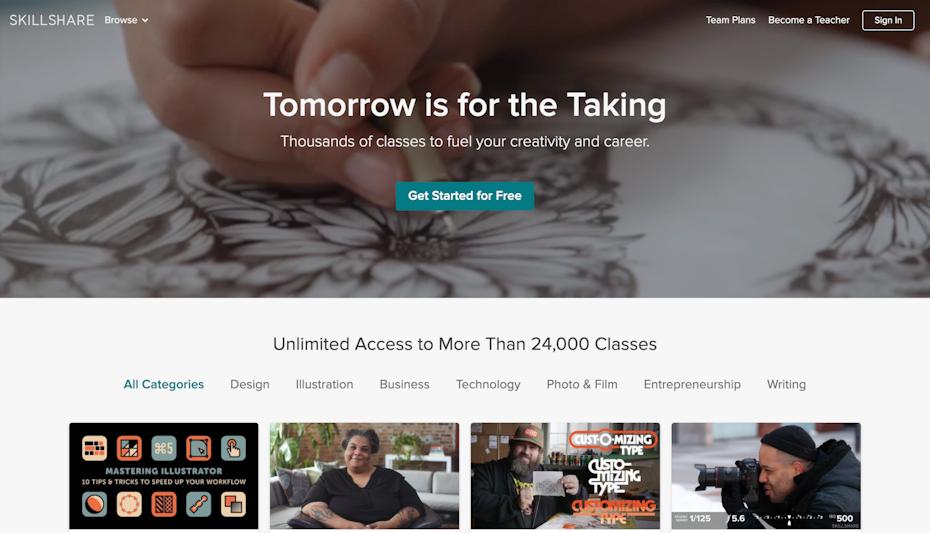 Skillshare homepage