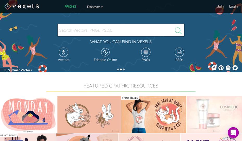 Vexels homepage