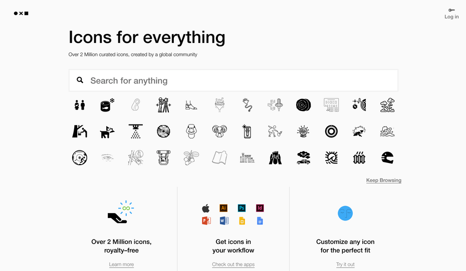 The Noun Project homepage