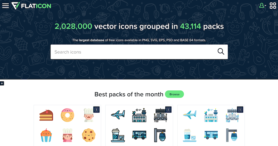 Flaticon homepage