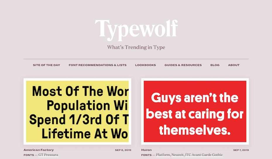 Typewolf homepage