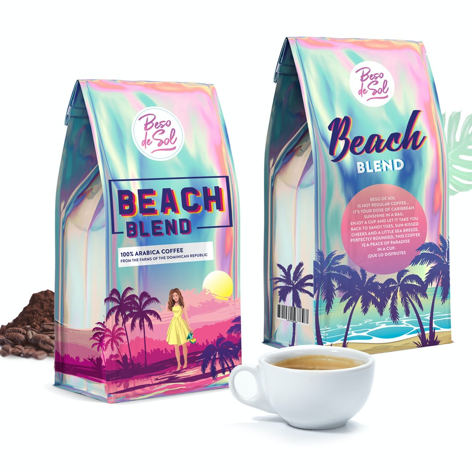 Beach Blend coffee packaging