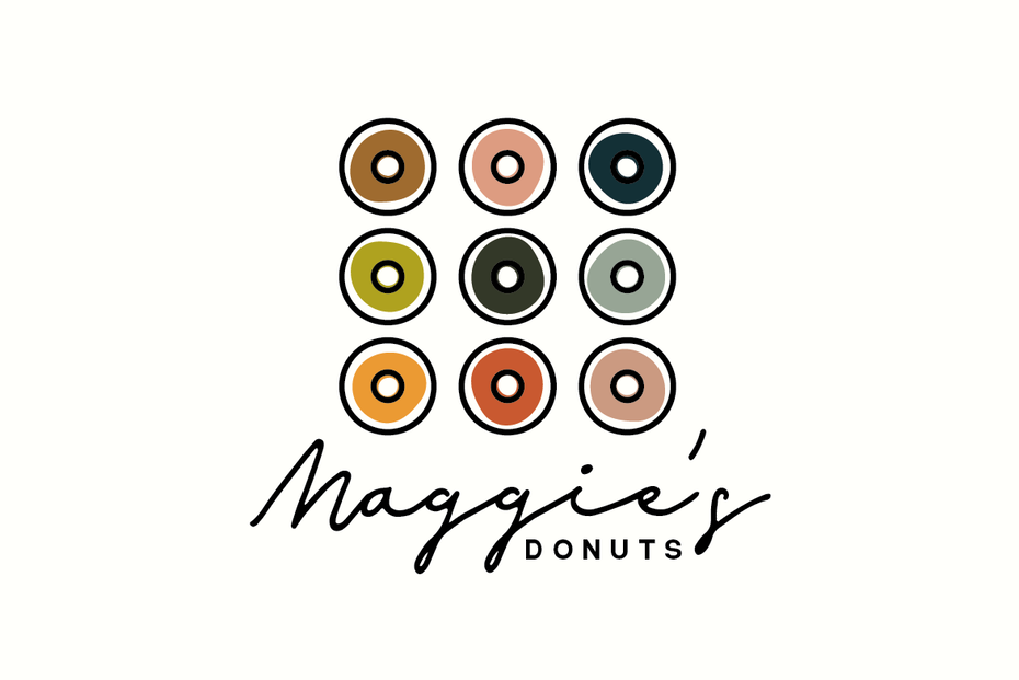 A modern minimalist logo design for a donut shop