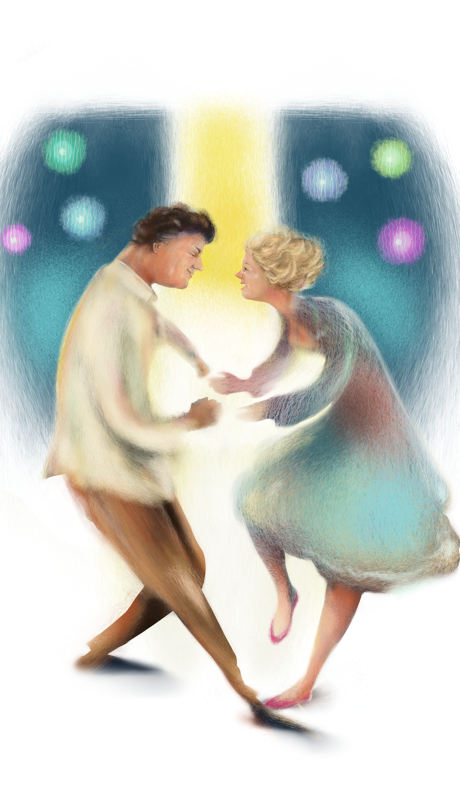 Expressionist couple dancing