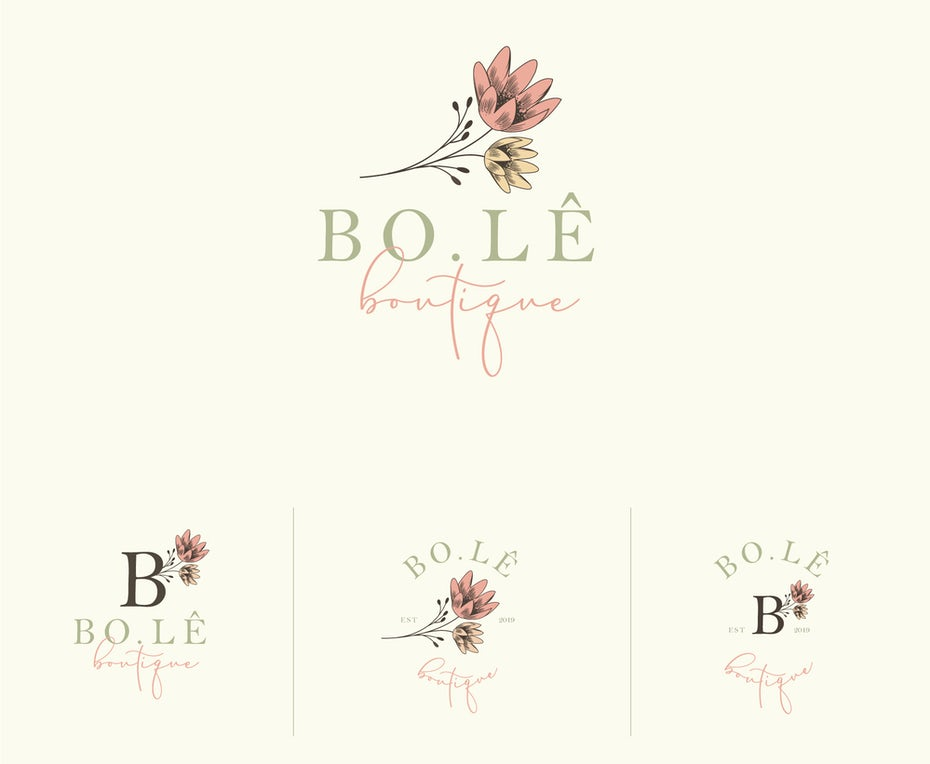 Hand-drawn floral logo design