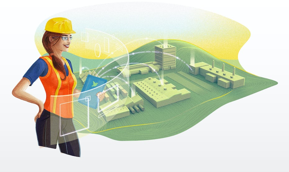 Illustration of a factory worker in a hardhat