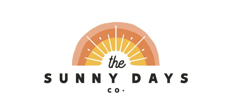Beach-themed logo design showing a sunset