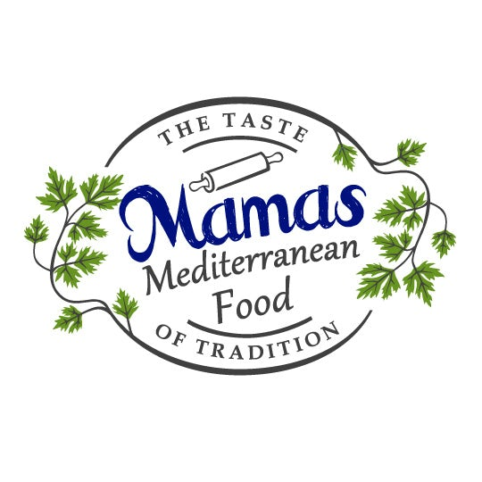 Mama's Mediterranean Food logo with tagline