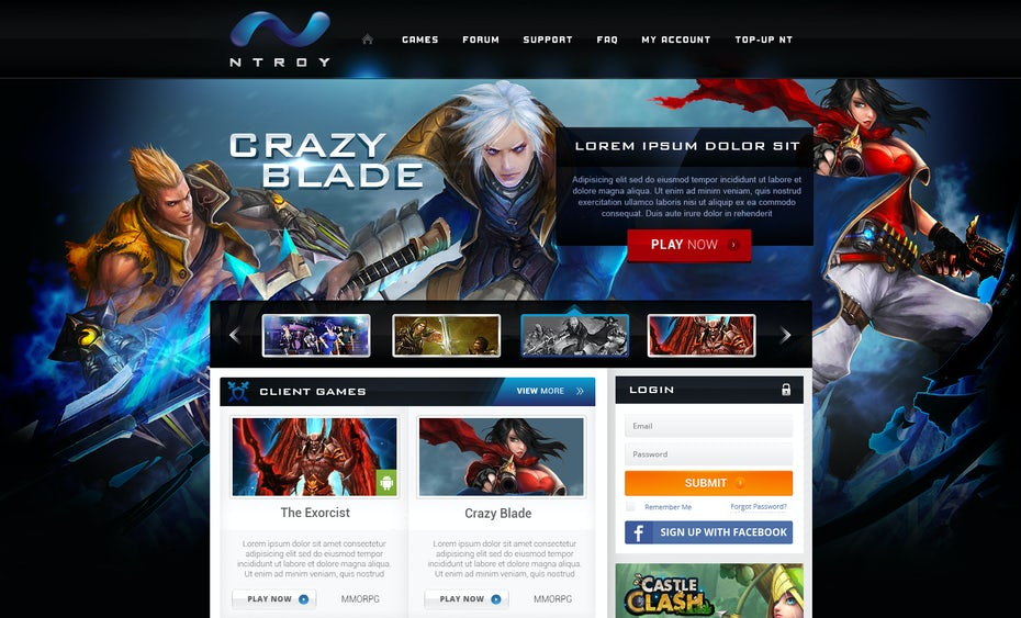 Powerful dramatic video game web design