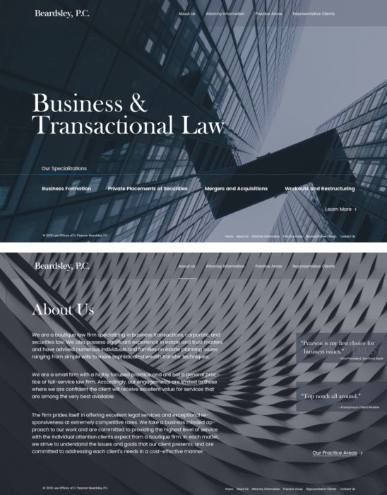 professional minimalistic law web design