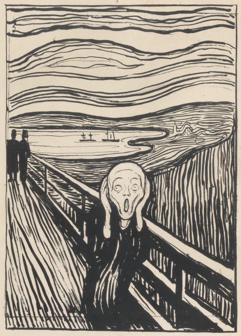 lithograph of Edvard Munch's expressionist masterpiece, The Scream