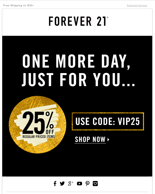 Forever 21 Black Friday campaign