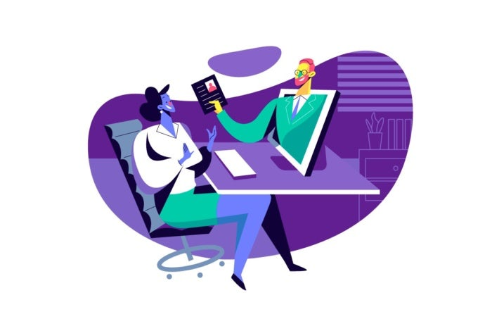 illustration of customer and person jumping out of computer
