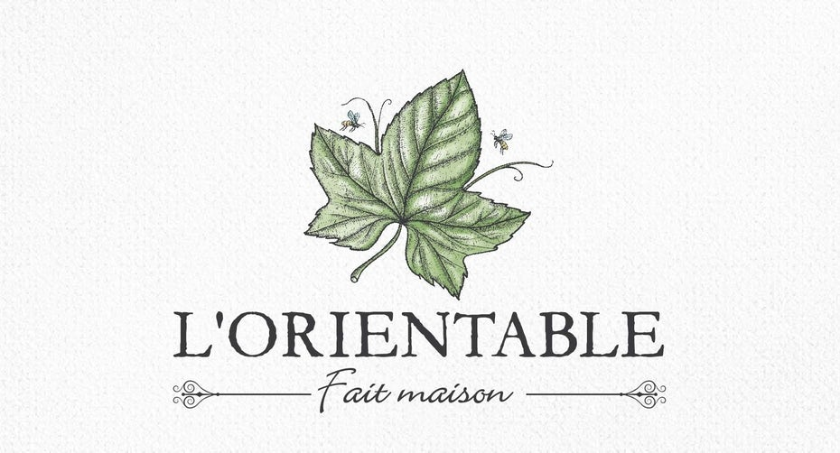 classic upscale restaurant logo with hand-drawn leaf illustration